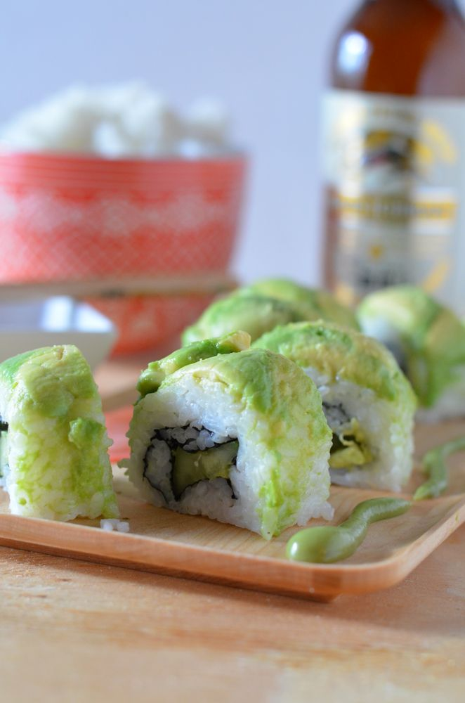Spicy Vegan Dragon Roll #MC #Sponsored via Mooshu Jenne